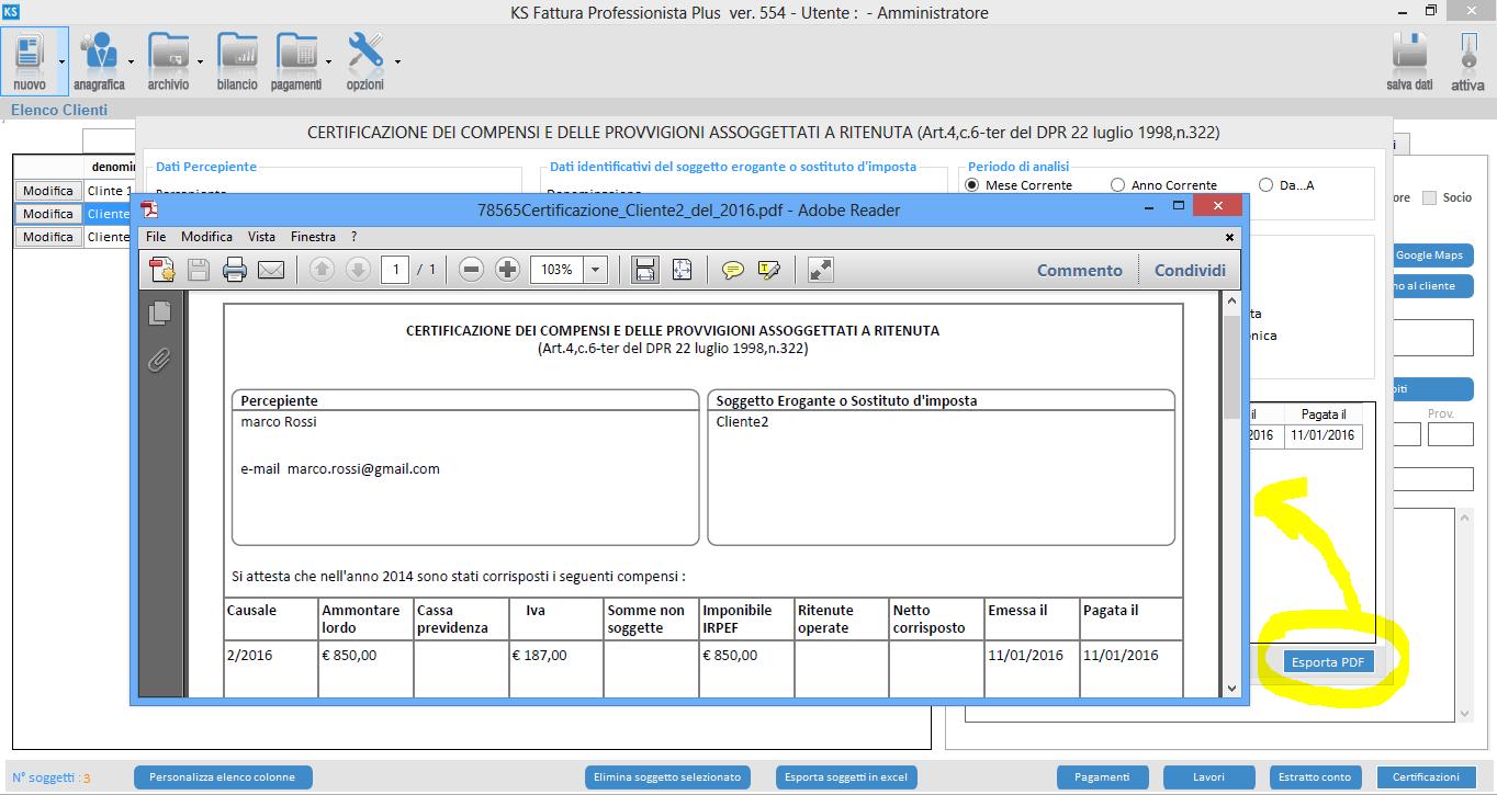 certificazione compensi KS Fattura-esportazione-pdf