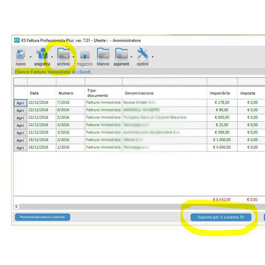 1-Archivio-documenti---Esportazione-fatture---ricevute---parcelle---Sistema-TS-aggiornamento-ks-fattura-7-01