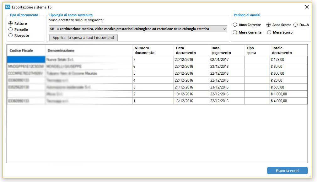Esportazione documenti per il sistema TS