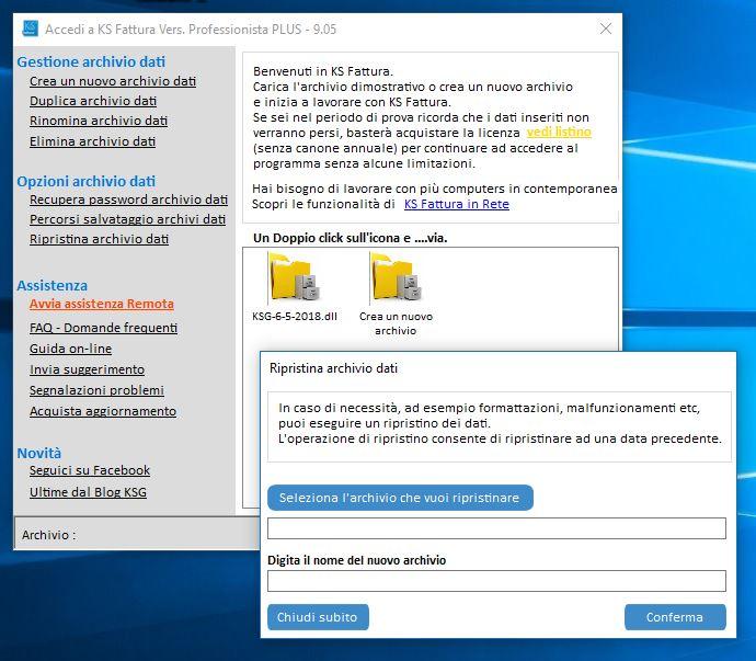 Ripristinare archivio o copia di backup fatturazione elettronica - finestra dati xml