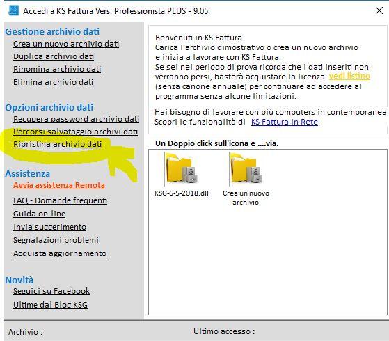 Ripristinare archivio o copia di backup fatturazione elettronica