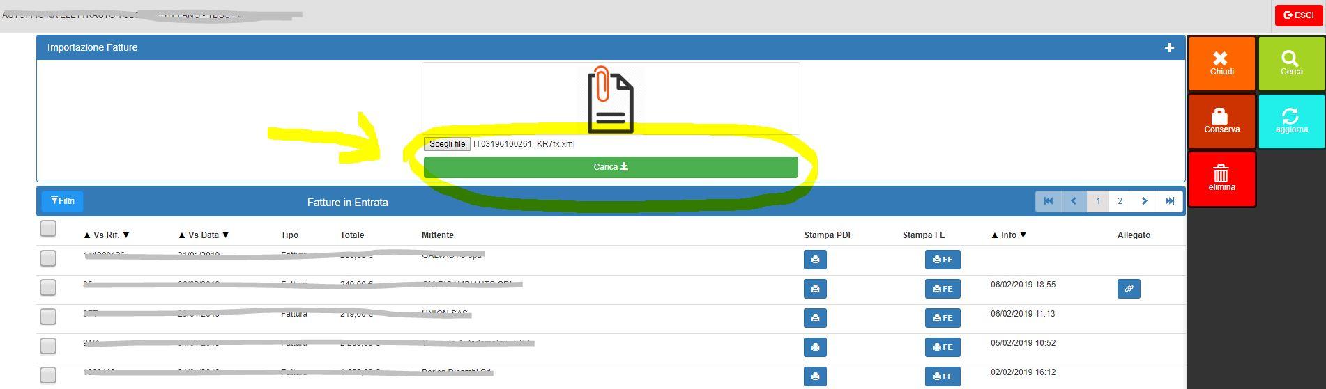 Importazione manuale fatture elettroniche RICEVUTE - caricamento del file XML