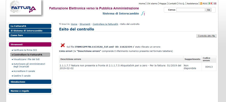 Verifica fattura elettronica XML - controllo agenzia entrate esito con errori