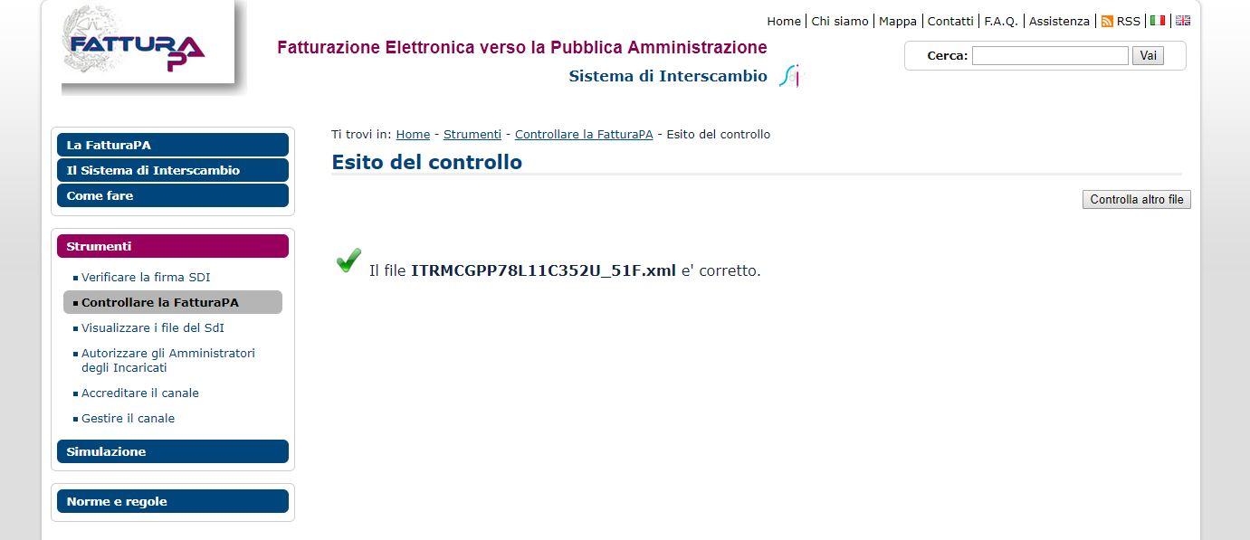 Verifica fattura elettronica XML - controllo agenzia entrate esito coretto