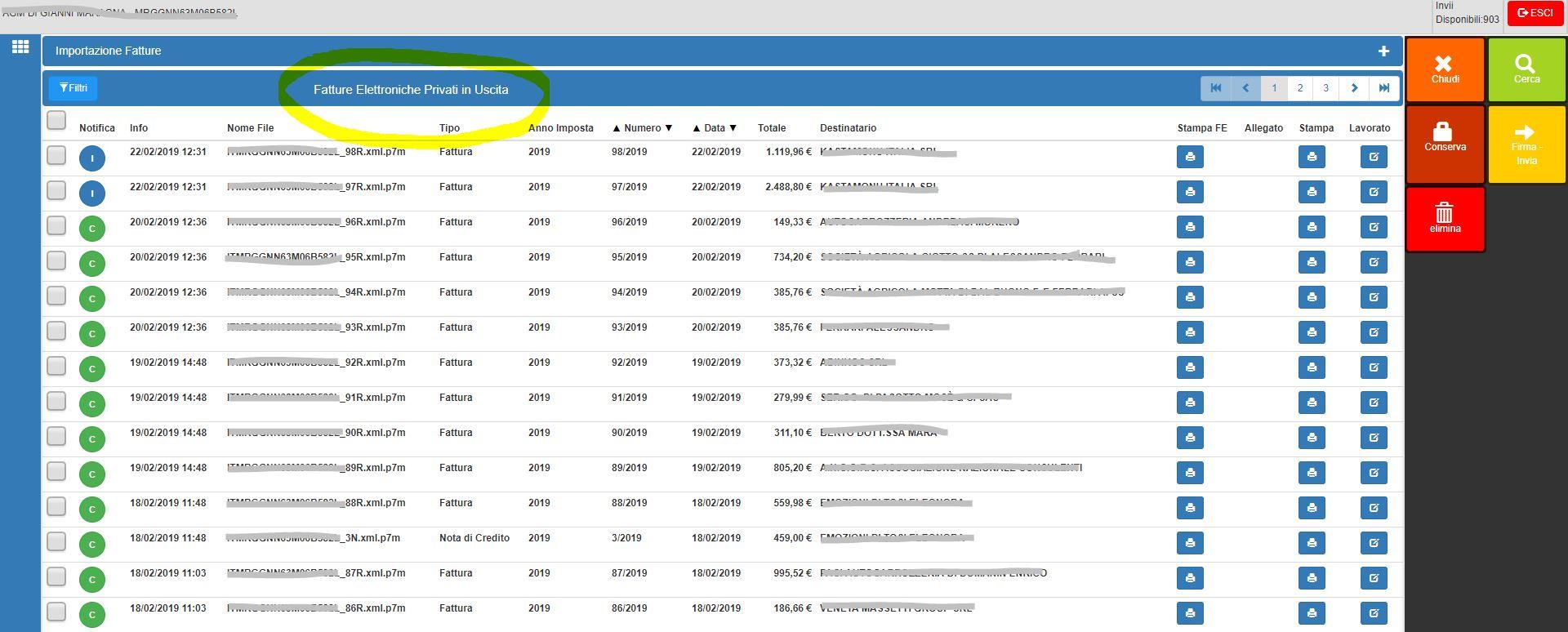 elenco fatture elettroniche inviate verso privati