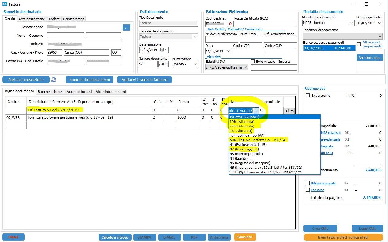 form fattura elettronica riferimento doc