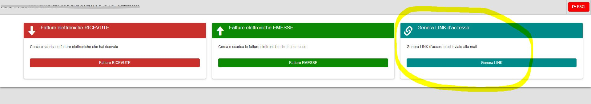 inviare le fatture elettroniche al commercialista - Genera LINK accesso