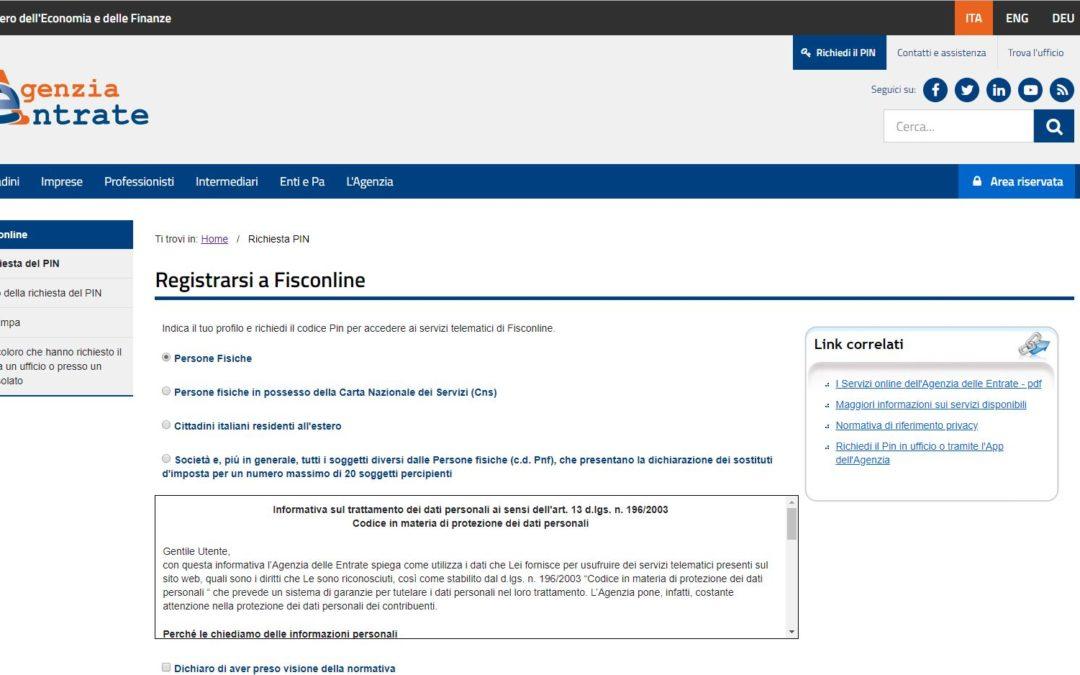 Registrazione al sito agenzia delle entrate – cassetto fiscale