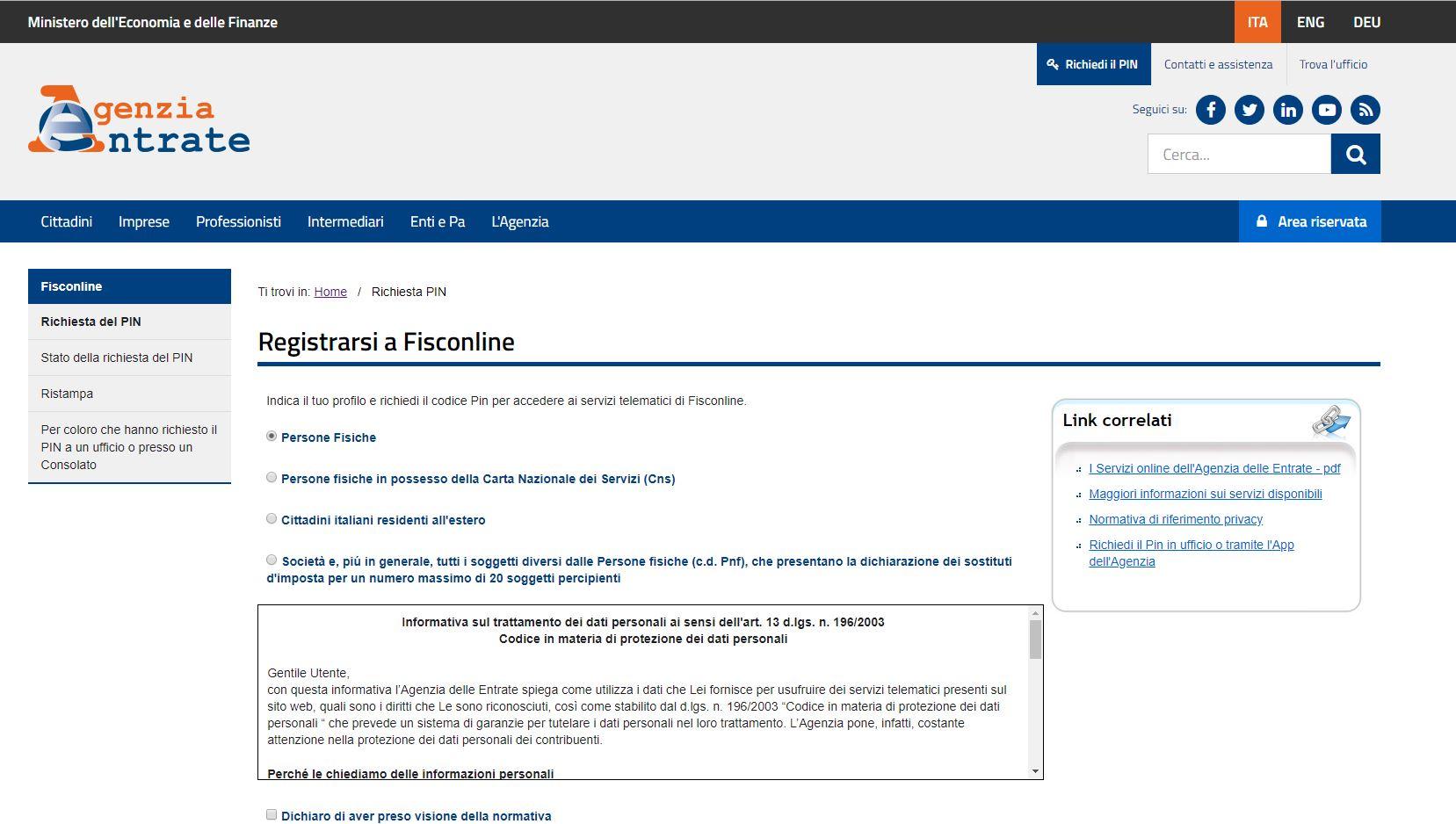 Registrazione al sito agenzia delle entrate - cassetto fiscale