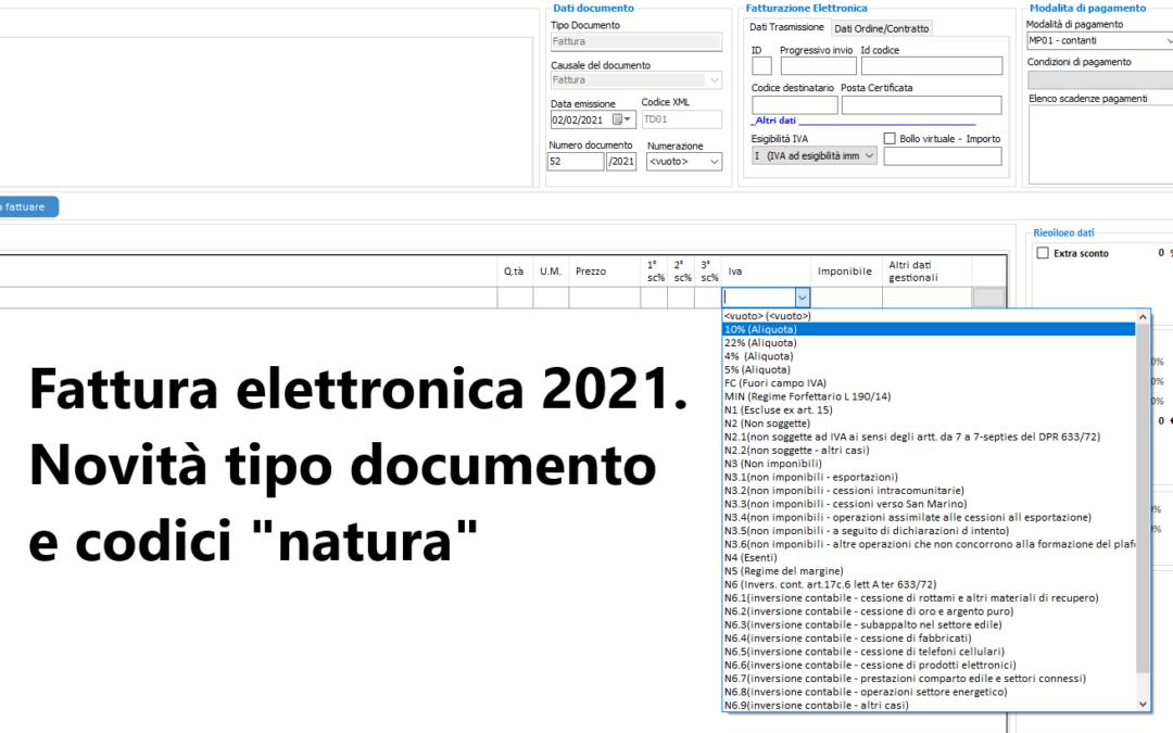 """Fattura elettronica 2021. Novità tipo documento e codici """"natura"""""""